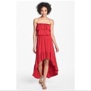 NWT Red Strapless High-Low Ruffle Dress